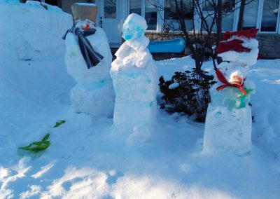 Snow fort and snowmen
