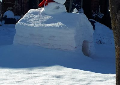 Snoopy snow fort